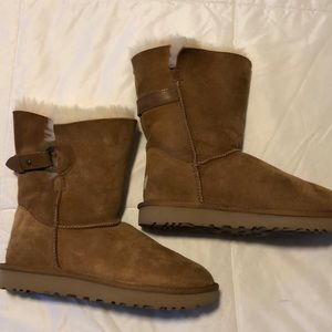 Tan Ugg Short with side Buckle